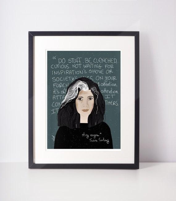 Susan Sontag fan Art Print, Feminist office art cubicle decor Home Office Inspirational Art, Typographic Art