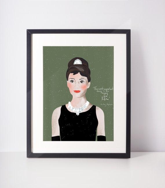 Audrey Hepburn Art Print Ready to Frame, Fashionista Gift Feminist Wall Art