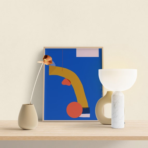 Mediterranean Art print, Mid Century Decor, Blue Abstract, Ochre Yellow and Blue