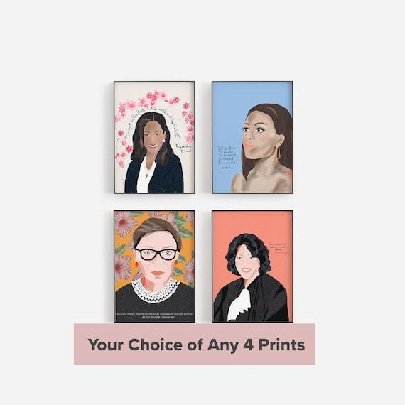Choose 4 Art Prints, Feminist Wall Art, Inspirational Quote Cubicle Decor