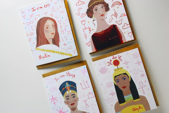 Set of 4 Greeting Cards, Daily Affirmations, Antiquity Icons, Lady Boss Gifts, Gifts under 20, Coworker gifts