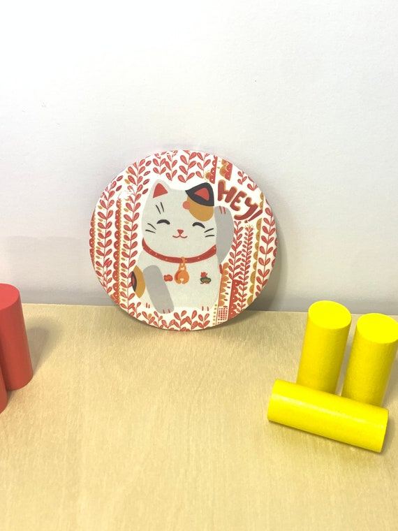 Maneki Neko fridge magnet, Lucky cat kitchen office decor