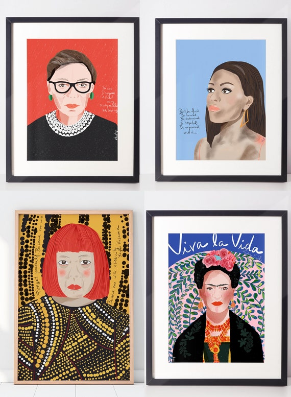 ART PRINT  Set of 4   Feminist Wall Art   Ready to Frame Prints    Iconic Women Portrait   Customizable Set of Four POSTERS
