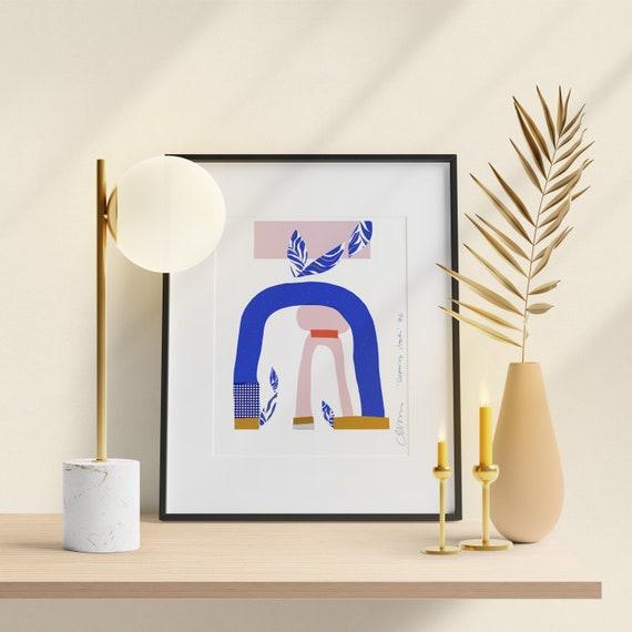 Wall art in blue, Soft pink wall art, Bedroom decor, Modern Art Print Poster