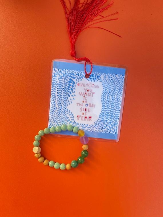 Bead bracelet and bookmark stocking stuffer, green adventurine and sandal wood bracelet, gifts for her