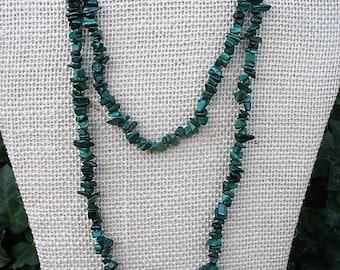 "Malachite gemstone crystal chip necklace, green stone necklace, healing stone necklace, 32"" gemstone necklace, CTG1"