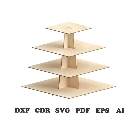 Square Cupcake Stand Pattern Vector for Laser Cutting CNC, svg, Dxf,laser  vector designs,laser vector files,laser patterns,Instant download