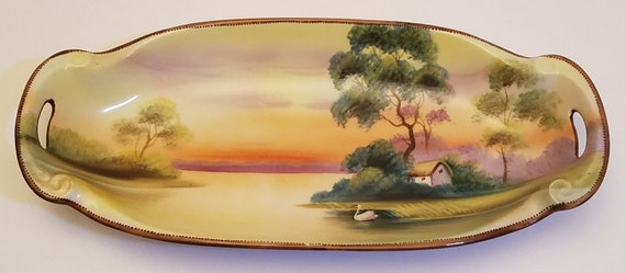 ba05c9e673 Beautiful Vintage Oval Shaped Hand Painted Nippon Lake House