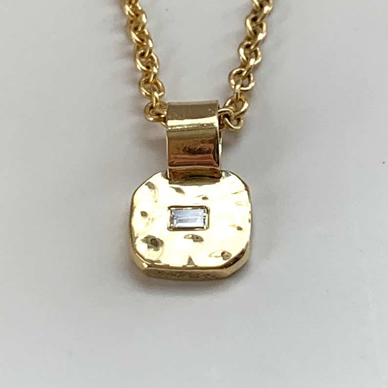 14K 18K Solid Yellow Recycled Gold Square Nugget Pendant Only image 0
