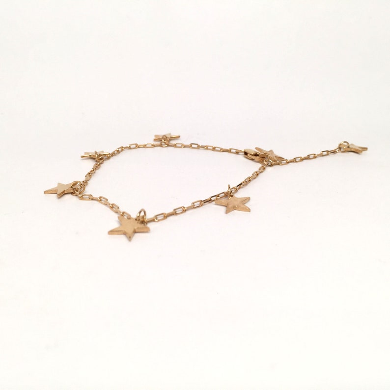 Gold Micron Plated Mini Classic Star Charm Chain Bracelet Modern Personalized Handmade Adjustable 18K or 14K Solid Gold Sterling Silver