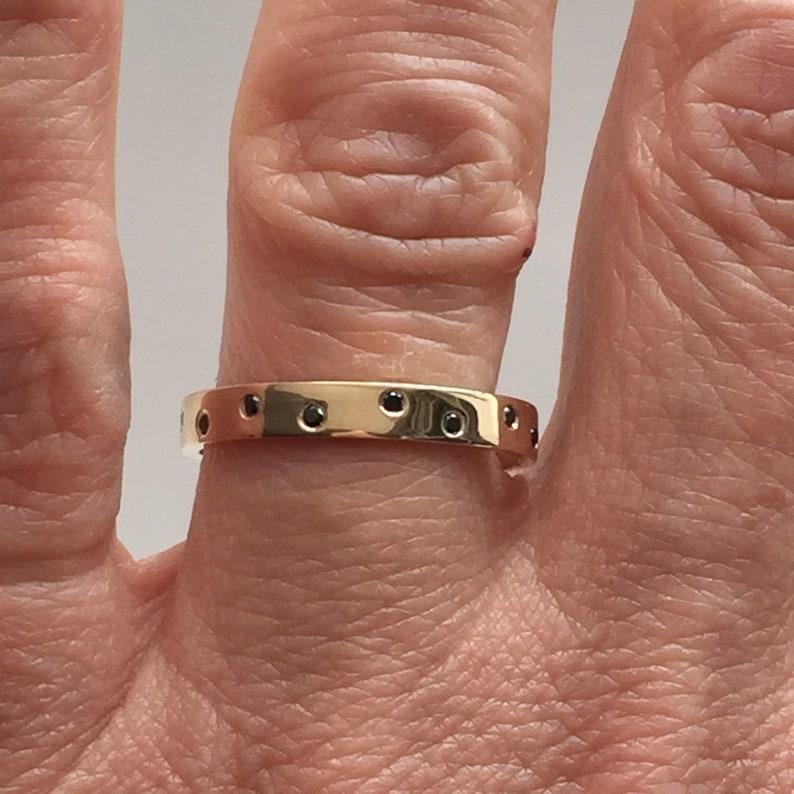 18K 14K Solid Gold 3mm Wide Ring Band Scattered BLACK image 0