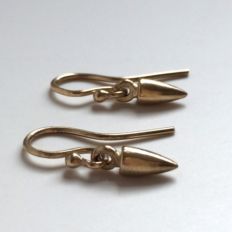 Tiny Spike Ear Wire Earrings 14K 18K Yellow or White Solid image 0