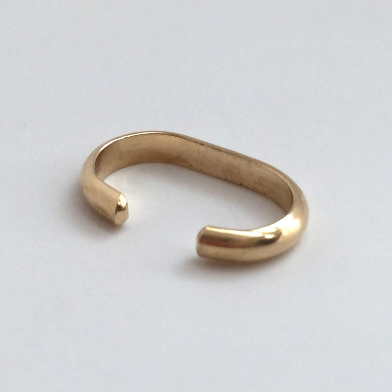 Solid Gold Oval Half Round Wire Not Pierced Ear Cuff for Conch Helix 14K 18K Yellow or White 12 mm