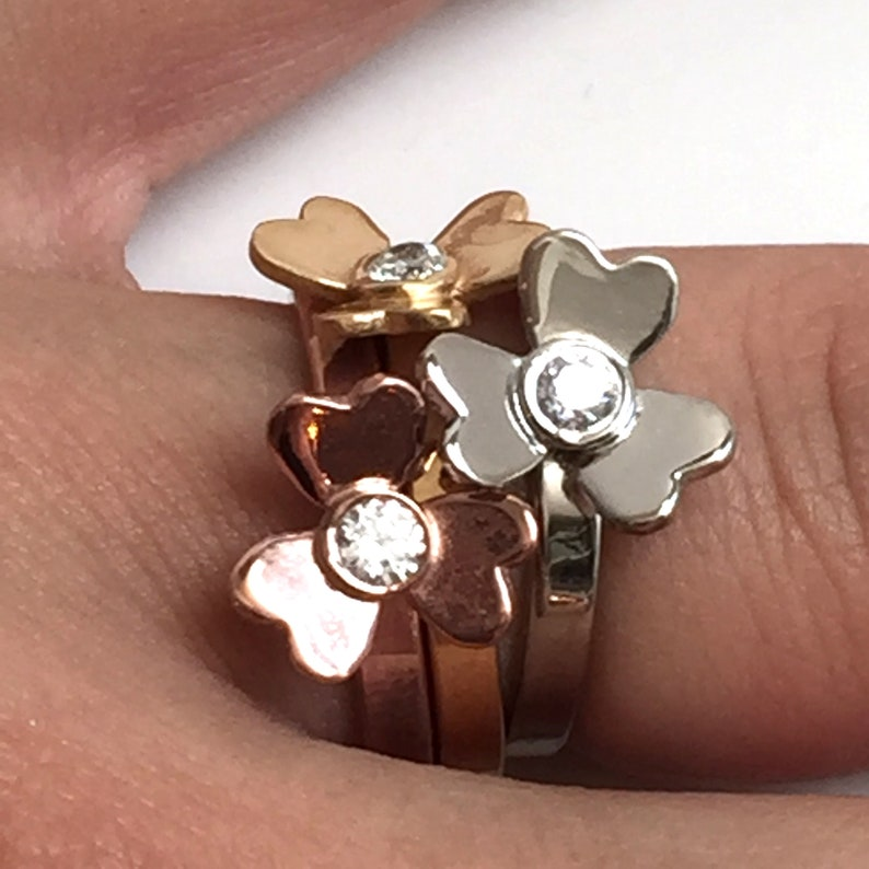 Stacking Heart Petals Flower Flowers Rings Ring Set of Three image 0
