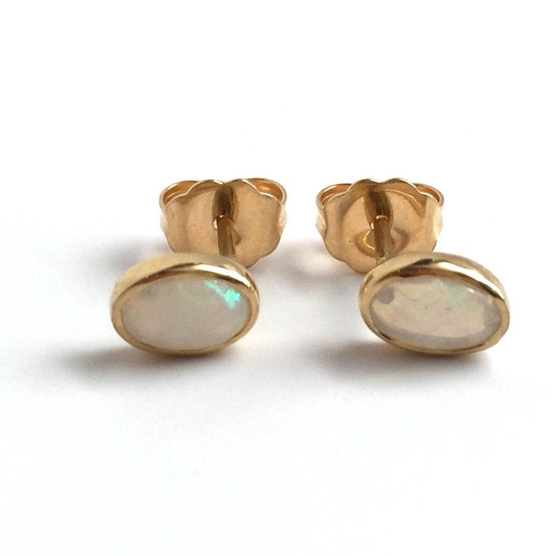 18K Solid Yellow Gold White Oval Opal Bezel Set Earrings image 0