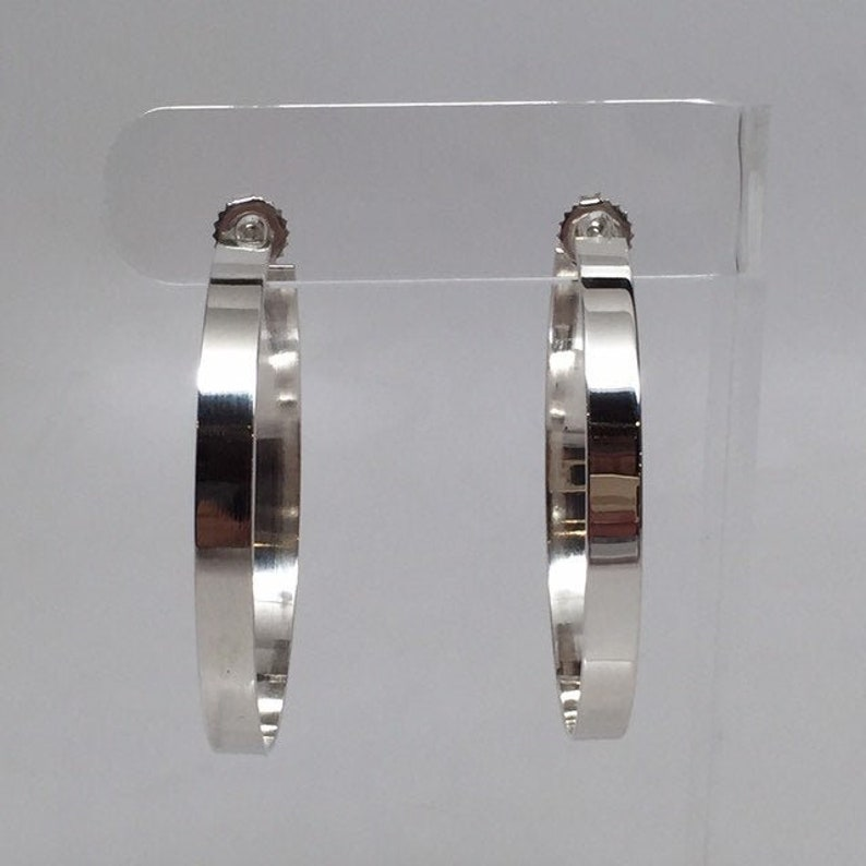 Solid Sterling Silver Big Hoop Earrings Classic 4mm Wide Flat image 0