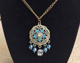 Boho Flower Chandelier Necklace, Pendants, Bohemian