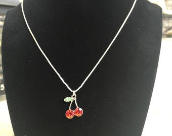 Crystal Cherry Pendant Necklace, Cherries, Cherry Jewelry, Fruit Jewelry