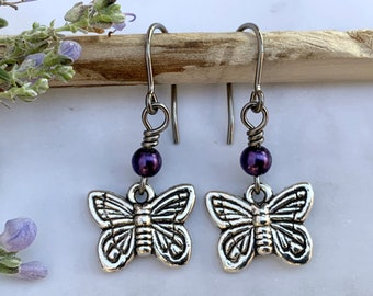 Butterfly beaded dangle earrings purple blue shiny silver stainless steel hypoallergenic for sensitive ears with lever back ear wires
