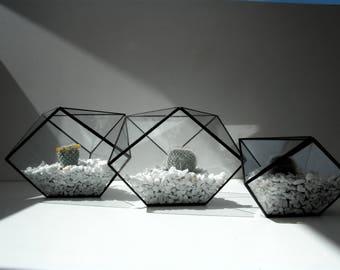Terrarium, mini-serre en verre -  technique tiffany, vitrail, stained glass terrarium