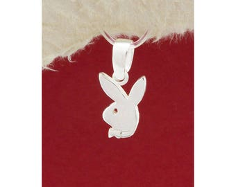 Silver Playboy Bunny Pendant Necklace/Pendant Necklace with Leather Chain/Handmade/Playboy Bunny Pendant/PK131