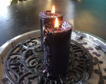The Pilgrim Pillar in Sacred Sparkle : Small to Large Black Tallow Candle