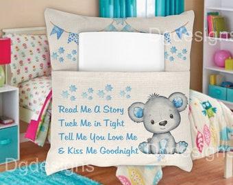 cushion*design*instant Digital Design Template sublimation Read me a storey*  blue bear
