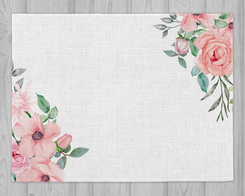 Linen Table Mat Place Setting  *pink roses instant Digital Design Template