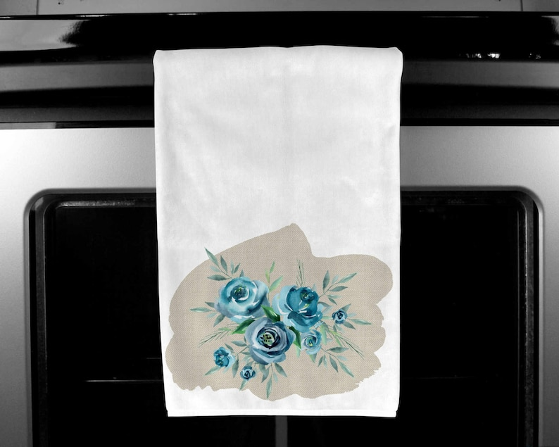Linen look with turquoise flowers    Kitchen Towel   design instant Digital Design Template matching items available
