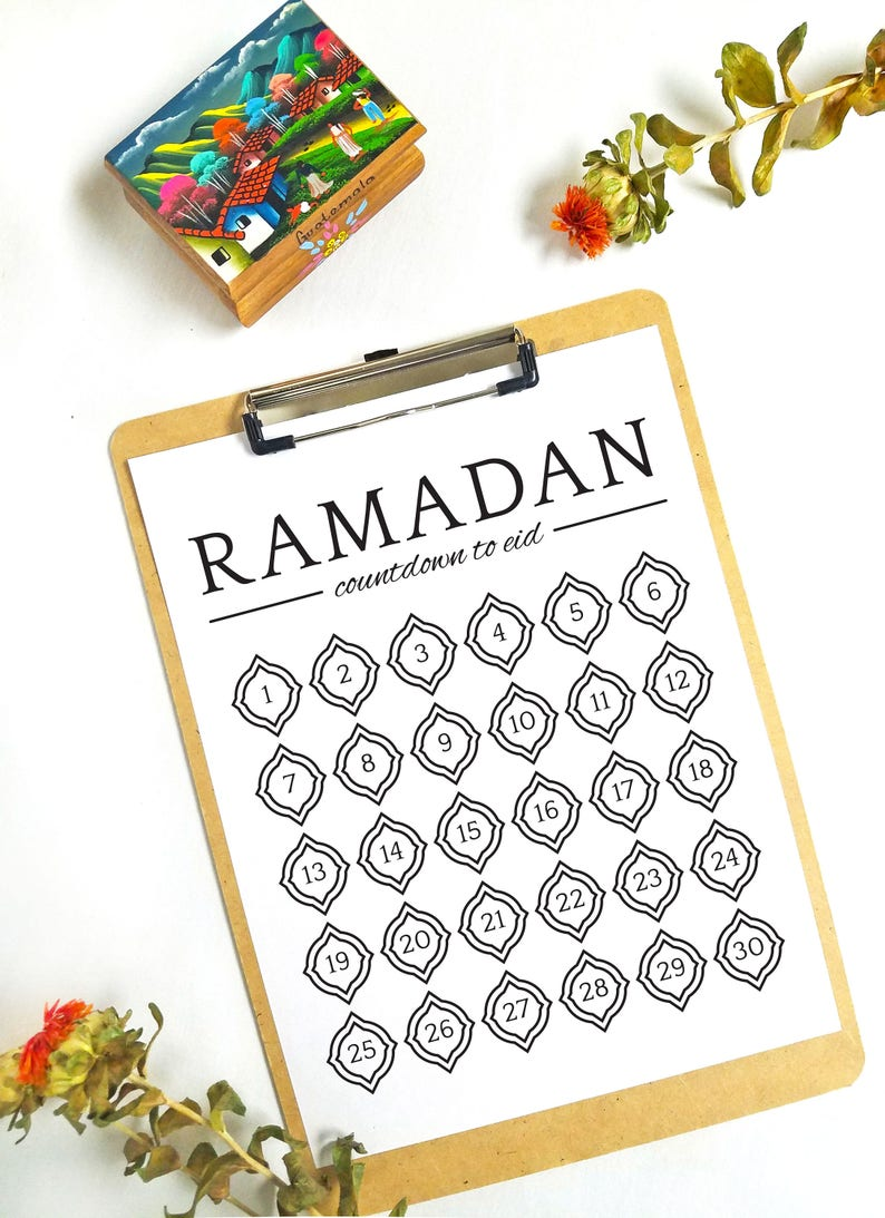 photo regarding Printable Countdown Chart named Ramadan Countdown in direction of Eid Chart Printable