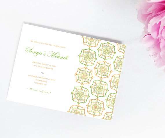 Mehndi Henna Party Wedding Invitation Bridal Shower Etsy