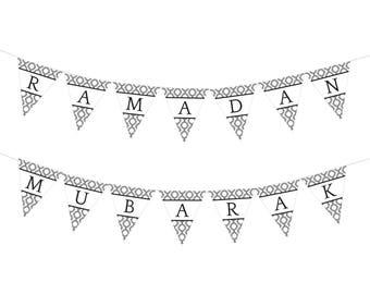 Ramadan Mubarak AND Eid Mubarak Garland/Banner (Pattern)