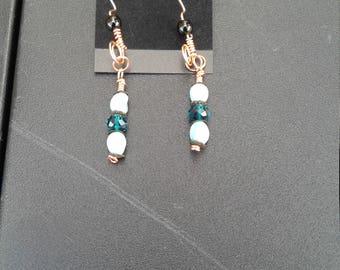 Copper wire wrap earrings