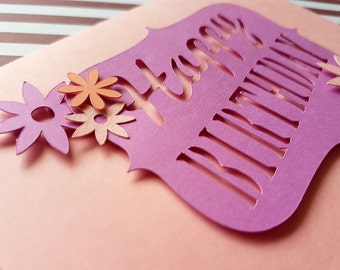 Happy Birthday Card, Flower Card, pink card, banner card