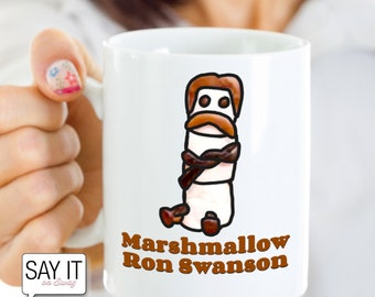Marshmallow Ron Swanson Mug: Funny Parks And Rec Gifts