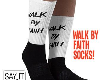 03fe12ce475 Walk By Faith Socks - Funny Christian Gifts for Women or Men