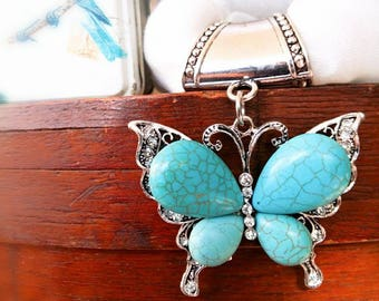 Turquoise Butterfly scarf charm