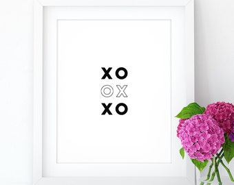 BOGO - XoXo - Kisses and Hugs, fun PRINTABLE wall art, wall art, digital download, black & white