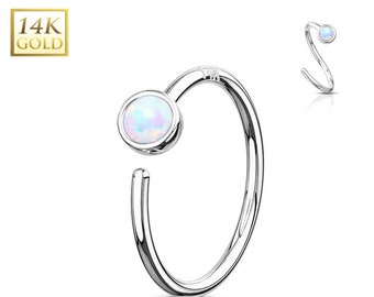 8281acd51 14k Solid White Gold,Opal(2.5mm) Nose Ring Bendable Hoop..20g..8mm(5/16)