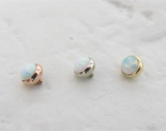 79c362c8f 14k Solid Gold,14G Opal Top for Belly rind,Dermal Anchor..5mm(4mm  opal)..Internally Threaded..Rose Gold,Yellow,White