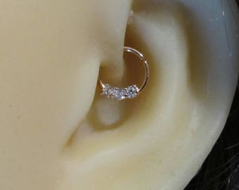 9239c8355 Rose Gold Surgical Steel Daith Piercing Ring with cz's,Cartilage,Helix, Septum.18g..8mm