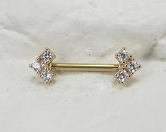 14k Solid Gold Nipple Flower 7mm single one Barbell,Internal Push/&Lock system..14g..14mm
