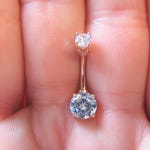 Rose gold Plated Brilliant cz's Prung Set Navel Belly Ring..14g..10mm