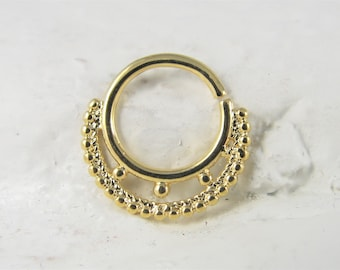 Gold Plated Daith Piercing,Septum Piercing Surgical Steel Hinged Ring Clicker..16m..8mm