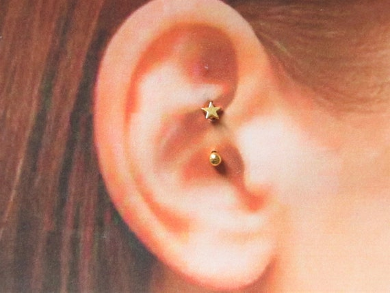 Gold Daith Piercing Surgical Steel Star Curved Etsy