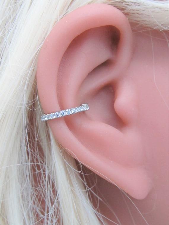 14 k solide weiß Gold Conch Piercing Ewigkeit Clicker Ring.. 16g.. 10mm oder 12mm