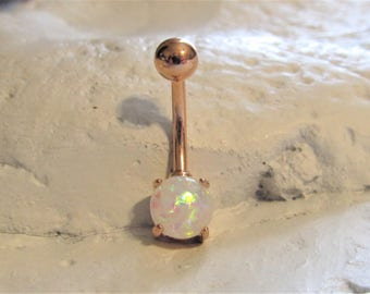 Rose Gold Plated,Synthetic White Opal Navel,Belly Button Ring..14g..10mm