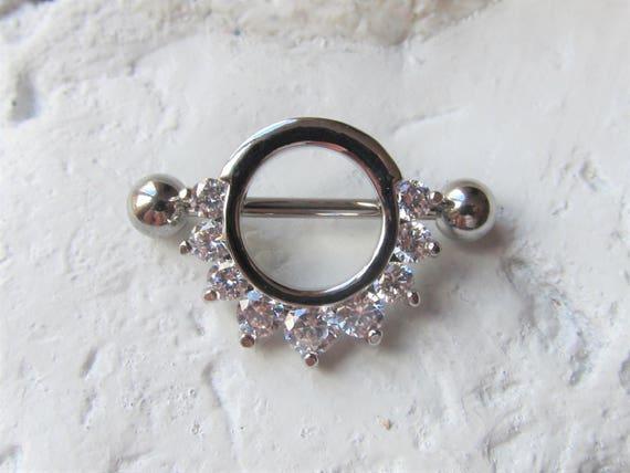 14G Half Circled Clear Stones Nipple Shield Nipple Jewelry. Nipple Rings Nipple Piercings