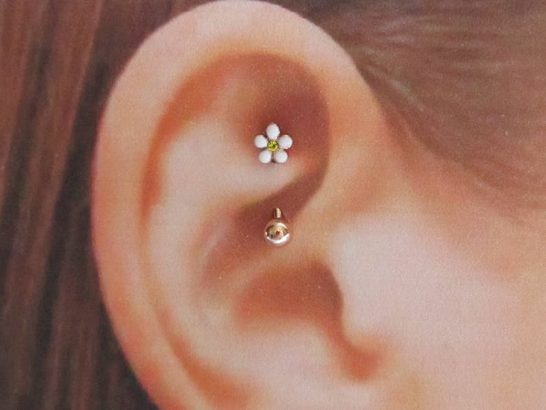 Rose Gold Rook Piercing Surgical steel Plumeria Curved image 0