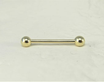 16G..14K Gold Nipple Barbell..12mm Or 14mm..Solid Gold..3mm balls(single one)